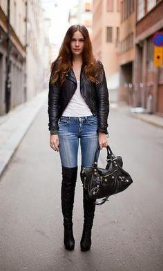 Look Overknee Boots + Jeans