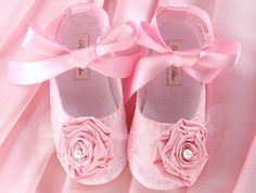 Baby Girl Shoe Victoria in Pink Lace, Wedding, Flower Girl, Christening, slipper/bootie Infant, Handmade by Pink2Blue.