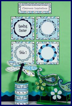Center and table signs in lime, teal, and navy!  They match the Pretty Paisley classroom theme. $ classroominspirations.com