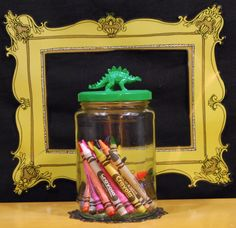 Jar with Green Dinosaur Lid by TonysDinostore on Etsy