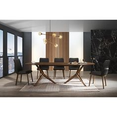 Shop Modrest Utah Modern Walnut 7pc Dining Set - On Sale - Overstock - 31267614 Dining Table Price, Modern Dining Room Tables, Dining Room Bar, Wood Table Bases, Walnut Table, Solid Wood Table, Bar Furniture, Furniture Deals, 7 Piece Dining Set