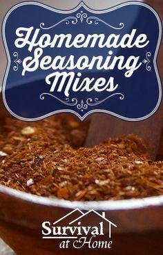 Homemade Seasoning Mixes (via Survival at Home) How to make your own DIY spice mixes for taco, ranch and Italian seasonings!