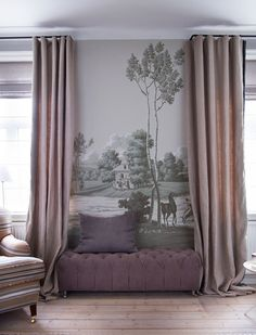For the space between 2 windows. de Gournay wallpaper La Chasse de Compiegne design in Crystal Grey colourway on scenic paper. Interior design by Tapet Café. Decor, House Design, Room, Interior Inspiration, Home, Decor Design, House Interior, De Gournay Wallpaper, Interior Design