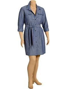 Womens Plus Chambray Shirt Dresses TALLA 16