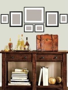Console Table, Rustic Mahogany stain - Console Tables - Pottery Barn Wall Gallery: Behind Couch in LibraryWall Gallery: Behind Couch in Library Livibg Room, Gray Wash Furniture, Behind Couch, Wall Decor, Room Decor, My New Room, Home Projects, Pottery Barn, Family Room