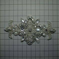 """Rhinestone Applique Pair, Crystal, Other/Unique, 6.25"""" x 4.5"""" 
