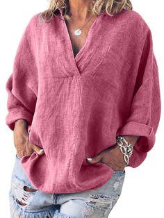 2019 VONDA Casual Summer Linen Tops Women's Blouse Vintage Overalls Long Sleeve Shirt Female Solid Chemise Plus Size Blusas Plus Size Shirts, Plus Size Blouses, Cute Plus Size Clothes, Casual Tops For Women, Blouses For Women, Batik Shirt, Long Sleeve Tops, Long Sleeve Shirts, Loose Shirts