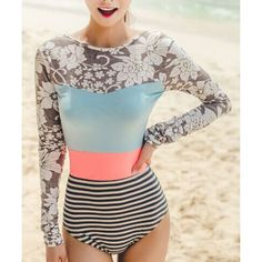 Stylish Striped Long Sleeve Backless One-Piece Swimsuit For Women