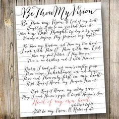 Hang something meaningful in your home... or someone else's home for that matter! This artwork would be an amazingly thoughtful gift. Be Thou My Vision Wall Art // Bombshell Calligraphy // DIY Printable // Modern Decor // 8.5x11 // Custom // Hymn // Song // Quote Only $25 (or $35 for a completely custom order) at Sussy Design Co. on Etsy!