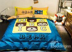 Elegant Bear and Letter Print 4-Piece Cotton Duvet Cover Sets #bedding #bedroom