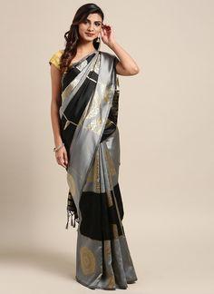 Sareetag Black  Designer Classic Party Wear Saree Kanjivaram Sarees, Art Silk Sarees, Saree Styles, Blouse Styles, Trendy Sarees, Black Saree, Designer Sarees Online, Elegant Saree, Islamic Clothing