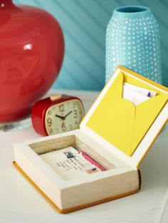 Make a keepsake box from discarded or damaged books. #DIY #upcycle #reuse Here's how: http://www.bhg.com/decorating/do-it-yourself-magazine/storage-packed-bedroom-from-scratch/?socsrc=bhgpin051012=4