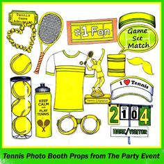 ready made tennis photo booth props - perfect for tennis party, at the tennis court cheering at a tennis match or if you love tennis Tennis Games, Tennis Party, Tennis Tips, Play Tennis, Tennis Shirts, Tennis Clothes, Tennis Photos, Match Score, Champions Trophy