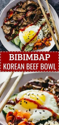An easy and healthy recipe for bibimbap, a korean beef bowl with authentic spicy sauce and vegetable toppings. An easy and healthy recipe for bibimbap, a korean beef bowl with authentic spicy sauce and vegetable toppings. Healthy Eating Tips, Healthy Dinner Recipes, Cooking Recipes, Healthy Korean Recipes, Asian Food Recipes, Healthy Food, Asian Dinner Recipes, Meatless Recipes, Meal Recipes