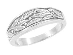 1960s vintage insprired mens band -  Olive Leaves Engraved Ring in 14 Karat White Gold - - Item R401M - http://www.antiquejewelrymall.com/r401m.html