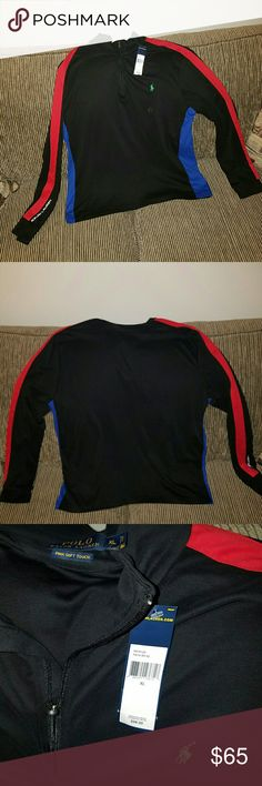 NWT Polo Shirt - long sleeve black, red and blue Brand new long sleeve Polo Ralph Lauren shirt, soft Pima material. Great addition to any Polo fans wardrobe Polo by Ralph Lauren Shirts Polos