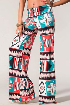 Tribal print wide leg pants plus size