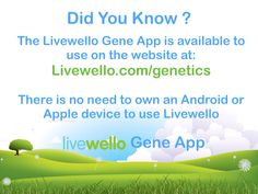 Did you know that you do not need to own an Apple or Android device to use the Livewello Gene App? Use it online at https://livewello.com/genetics