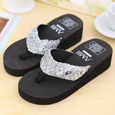 f45a37366f5d Sliver Summer Shoes Women Platform Sandals Wedge Flip Flops Sapato Feminino  High Heel slippers Sandalias Plataforma
