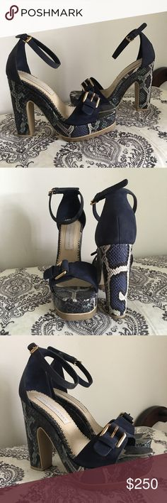 Stella McCartney Snakeskin Ankle strap heels Faux snakeskin and faux suede platform sandals with adjustable ankle straps and toe strap buckle. Excellent condition. Stella McCartney Shoes Platforms