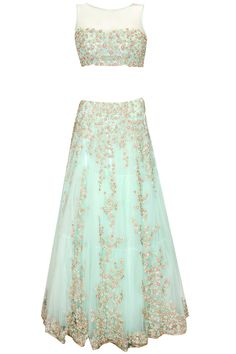 Jyotsna Tiwari presents Aqua green pearl and thread work lehenga saree available only at Pernia's Pop Up Shop. Ethnic Outfits, Indian Outfits, Indian Clothes, Lehenga Gown, Anarkali, Indian Attire, Indian Wear, Pretty Outfits, Pretty Dresses