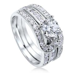 Sterling Silver 925 Round Cubic Zirconia CZ Solitaire Insert