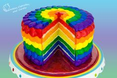 Rainbow Cake How to - Prettiest rainbow cake I have ever seen. Vanilla cake & Buttercream Icing (Video) recipes included. Petal technique on the outside.