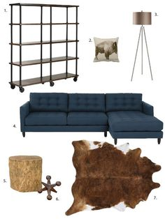 """One Design, Two Budgets: Rustic, Industrial Living Room an 11k and a 3k version of these items - """"Rustic Industrial"""" fits my idea of a Colorado Home"""