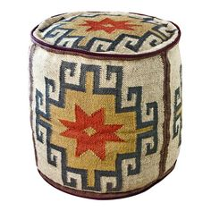 Cylindrical cocktail ottoman with multicolored kilim fabric upholstery. Product: Ottoman Construction Material: Kilim Color: Tan, red and brown Dimensions: H x Diameter Kilim Fabric, Cocktail Ottoman, Textiles, Southwest Style, Southwest Decor, Joss And Main, All Modern, Rustic Modern, Rustic Style
