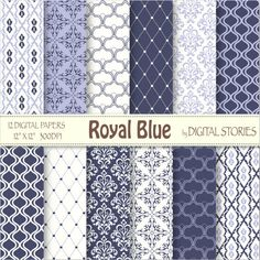 """Damask Moroccan Digital Paper: """"ROYAL BLUE"""" Blue Scrapbook Paper Pack with damask, moroccan elements for cards, invites - Buy 2 Get 1 Free"""