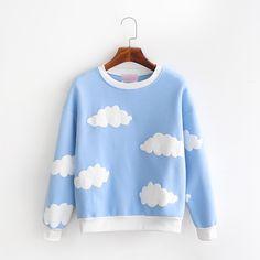 Cute clouds fleece pullover