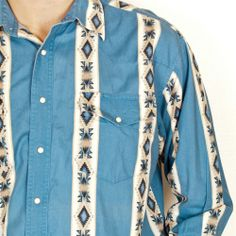 Wrangler Shirt Western Pearl Snap Mens XL Southwestern Tribal Print Blue #Wrangler #Western #Shirt #SomeLikeItUsed