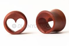 7/8 Pair Heart Tunnel Red Saba Wood Plugs Organic Hand Carved Body Piercing Jewelry gauge. $19.99, via Etsy.