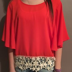 Silk Top Silk blouse with flower crochet bottom detail. Flowy  sleeves. Worn once. Tops Blouses