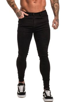 Maison Non Ripped Spray On Jeans - Black Classic 5 Pocket Design Zip Fly High Rise Added Stretch for Mobility. Non Ripped Model is wearing size 32 Mens Spray On Jeans, Stretch Denim Fabric, Seven Jeans, Black Denim, Skinny Jeans, Model, How To Wear, Shopping, Fashion