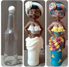 Homemade Polymer Clay, Polymer Clay Fairy, Polymer Clay Crafts, Glass Bottle Crafts, Bottle Art, Clay Wall Art, Clay Art, Doll Crafts, Diy Doll