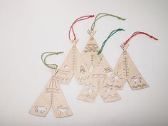 Henderson Dry Goods is the work of Vancouver industrial designer Alex Henderson. Her medium is primarily wood.  I love these for when I do up a Christmas tree with a Canadiana theme.