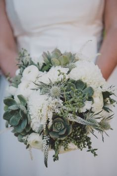 white dahlia, ranunculus, and succulent bouquet // photo by SeanFlanigan.net