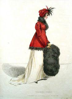 Walking dress and muff from Madame Lanchester's Miroir de la Mode 1803.