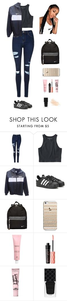 """Untitled #206"" by keyling99 ❤ liked on Polyvore featuring Topshop, Aéropostale, NIKE, adidas, Casetify, Benefit, Beauty Rush, Gucci and Eve Lom"