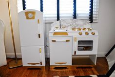 KidKraft Play Kitchen Makeover, Gold and white with marble backsplash