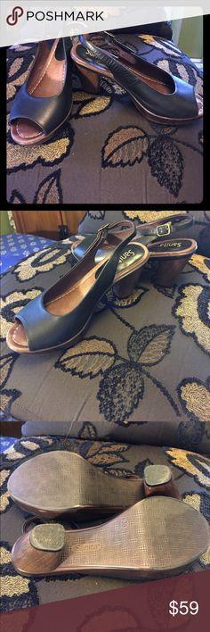 "SANITA Open Toe Leather Slingbacks-Size 38 Black leather open-toe slingback shoes with 3"" heel. Retail at $160 Sanita Shoes Heels"