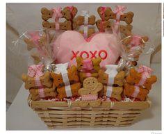 Pink Valentines Day dog biscuit treat basket with squeak toy, unique gift, custom, hearts