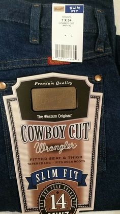 72641687 Womens Wrangler Cowboy Cut Slim Fit 7X34 Blue Jeans Fitted Seat #fashion # clothing #