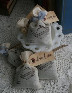 """""""drink me"""" tea bag bridal shower favors You will have these when you get married. Of that I'm sure!"""