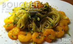 Bouquet di tagliatelle, gamberi e zucchine allo zafferano