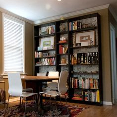 Shelves_large  billy shelves with Anthropologie wallpaper in background