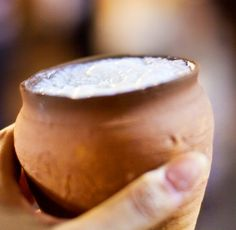 Delicious hand-churned lassi in earthen pots, Old City, Delhi.