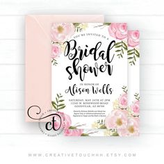 5x7 Bridal Shower Invitation, Physical Prints **Printed on high quality thick card **Envelopes are not included, Envelope size needed: A7, 5 1/4 x 7 1/4  - - - - - - - - - - - - - - - - - - - - - - - - - - - - - - - - - - - - - - - - - - - - - - - - - - - - - - - - - - -  WHEN PLACING YOUR ORDER: Please leave the QTY as 1 (ONE) Please select the quantity needed in the Package Size drop down   Please add the following information into the note section during check out: Name Date Time Address…