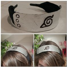 "DIY Naruto headband-  the ""metal"" part is from aluminium foil and paper, symbols are draw with black marker and it's glued on an ordinary hair headband."